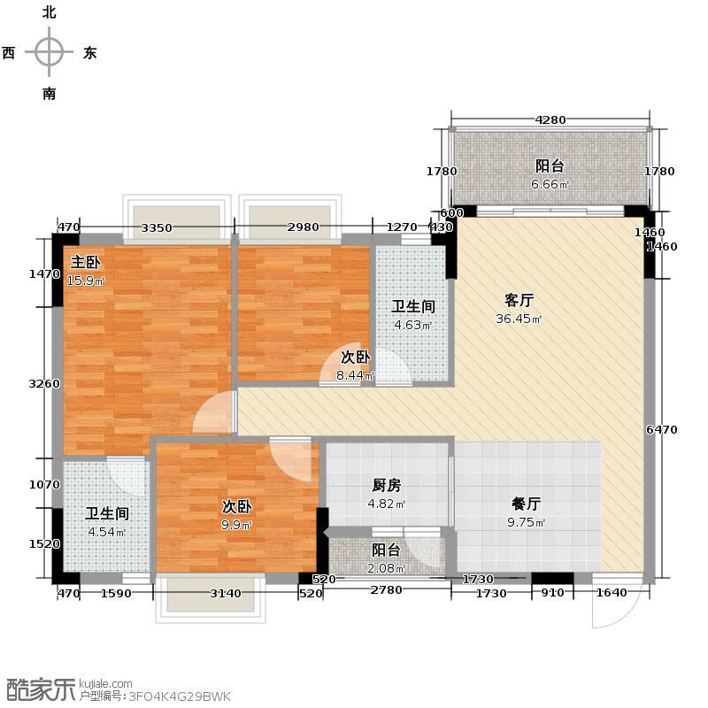 格兰名筑112.55㎡J1户型3室1厅2卫1厨