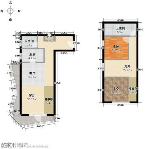 青年都会1室1厅2卫1厨99.09㎡户型图