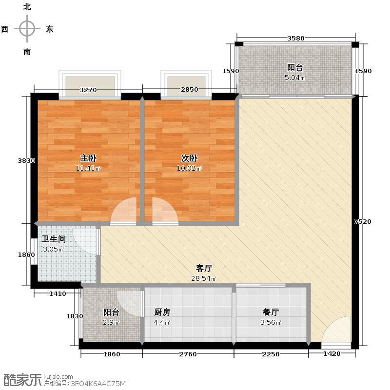 金地花园76.02㎡户型2室2厅1卫1厨