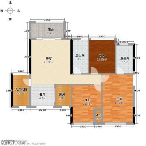 冠亚国际星城3室2厅2卫0厨117.00㎡户型图