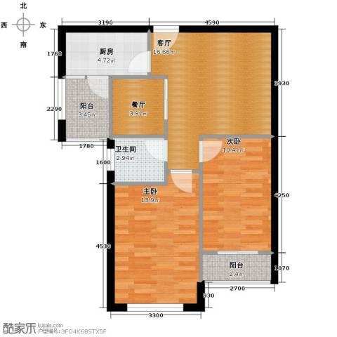 山水华景2室2厅1卫1厨73.00㎡户型图
