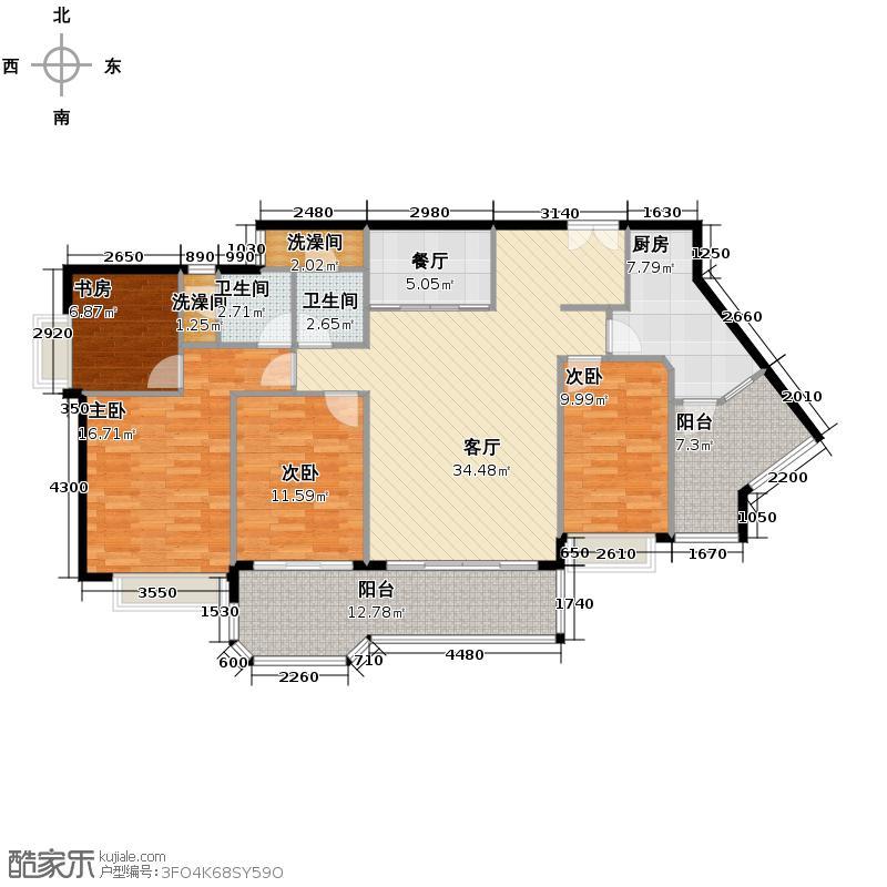 恒大名都127.00㎡15、16栋B-01户型4室2厅2卫
