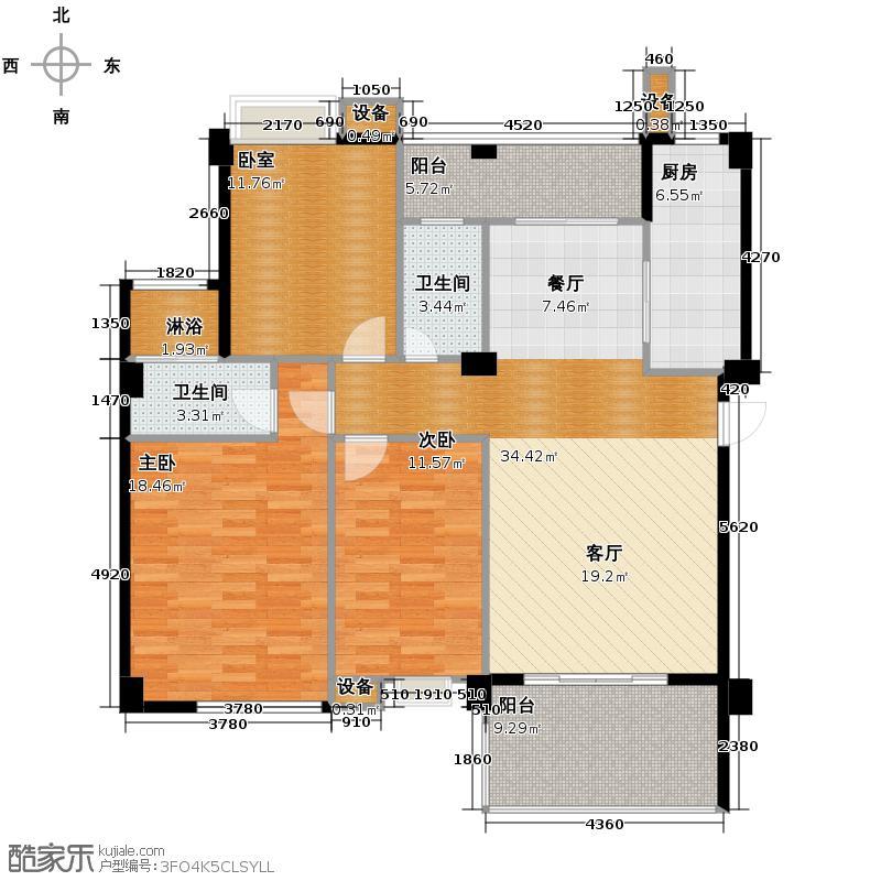 华浩国际城132.00㎡2座02标准层户型2室2卫1厨
