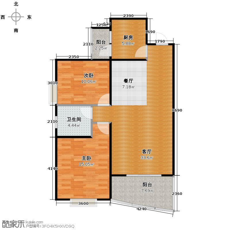 霏红榭93.23㎡2号楼E2-3户型2室2厅1卫