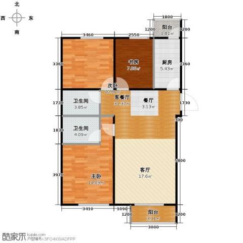 天成・明月洲3室2厅2卫0厨119.00㎡户型图