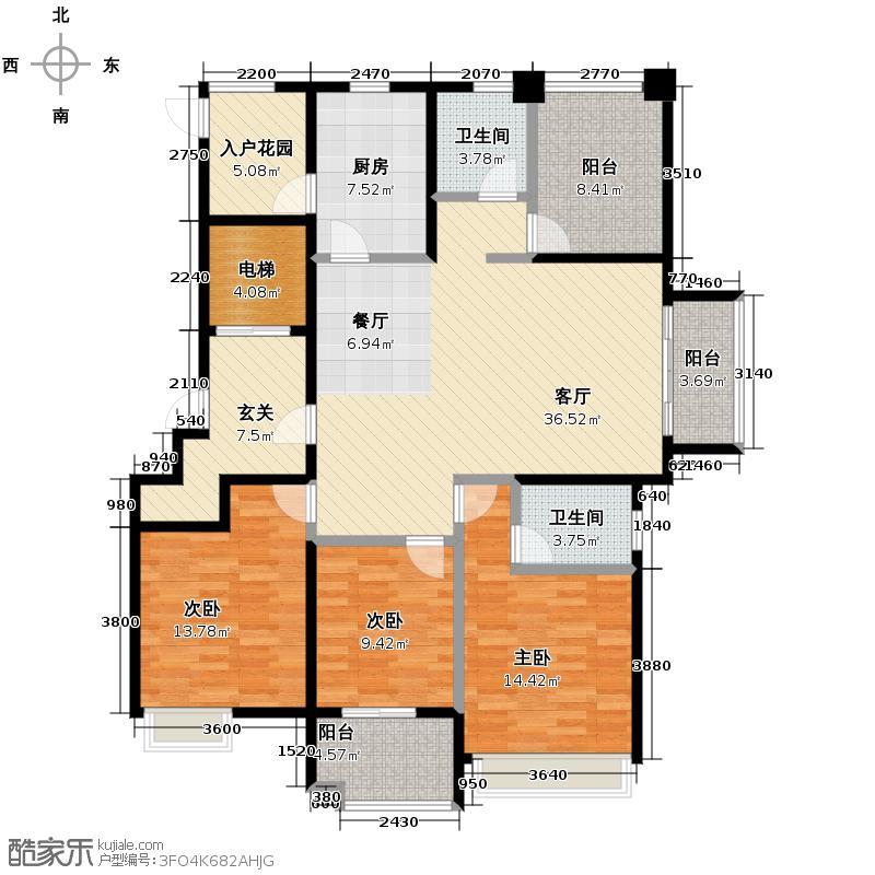 保利居上143.00㎡风雅居E1户型3室1厅2卫1厨