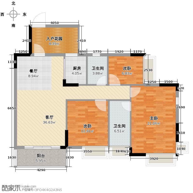 格兰名筑123.83㎡J3户型3室1厅2卫1厨