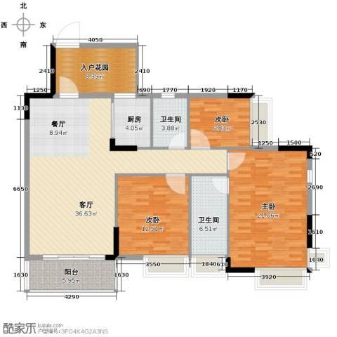 格兰名筑3室1厅2卫1厨124.00㎡户型图