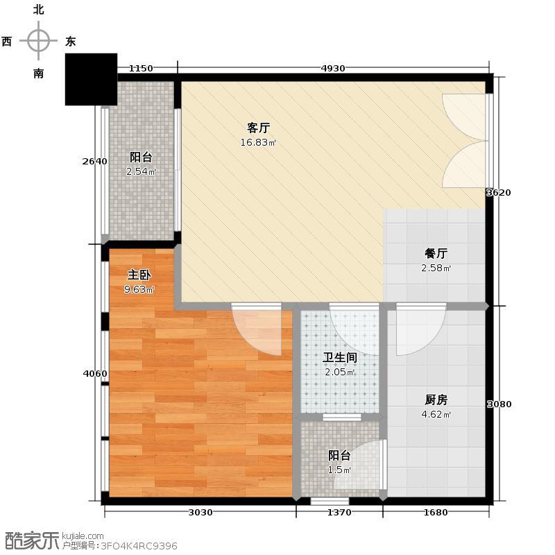 恒雨后现代城47.57㎡7号楼D9户型1室1厅1卫1厨