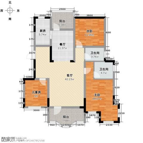 金地滟澜山3室2厅1卫0厨119.00㎡户型图