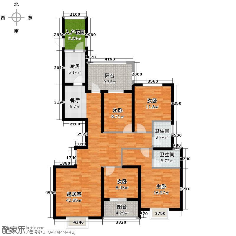 博仕后公馆139.00㎡A6#楼02、05单元4室户型4室2卫1厨