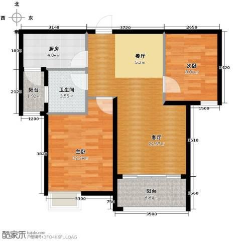 恒大名都2室2厅1卫0厨82.00㎡户型图