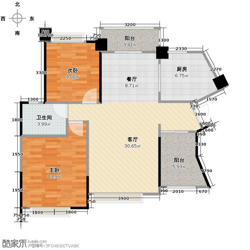 华凯逸悦豪庭92.41㎡16号楼03户型2室2厅1卫