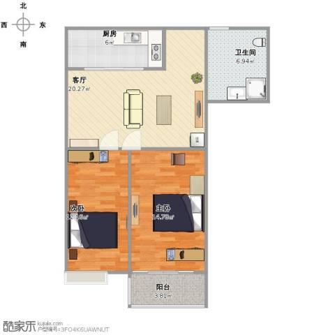 白马家园2室1厅1卫1厨86.00㎡户型图