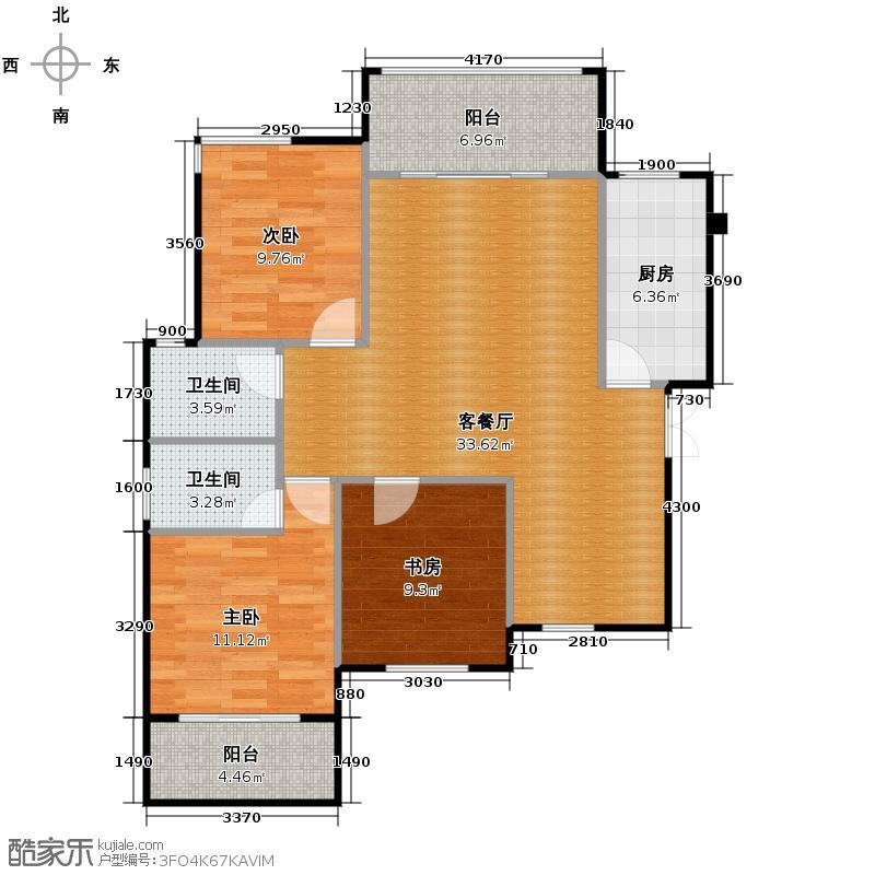 中南红领邦115.84㎡A1户型3室2厅2卫