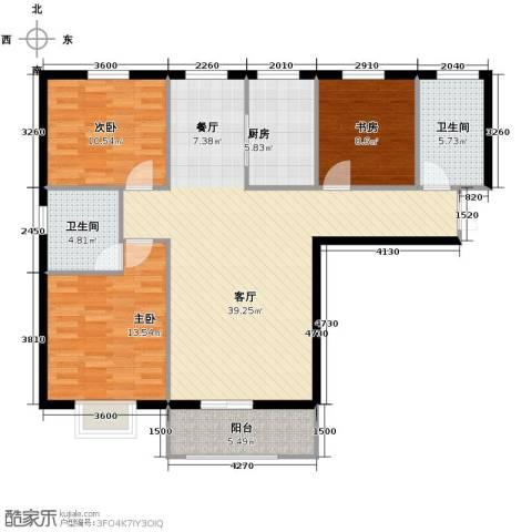 滨海国际3室2厅2卫0厨126.00㎡户型图