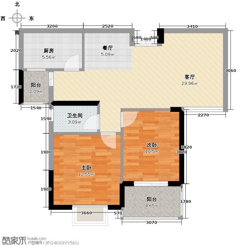 长沙欧洲城85.00㎡1、2号栋E户型2室2厅1卫