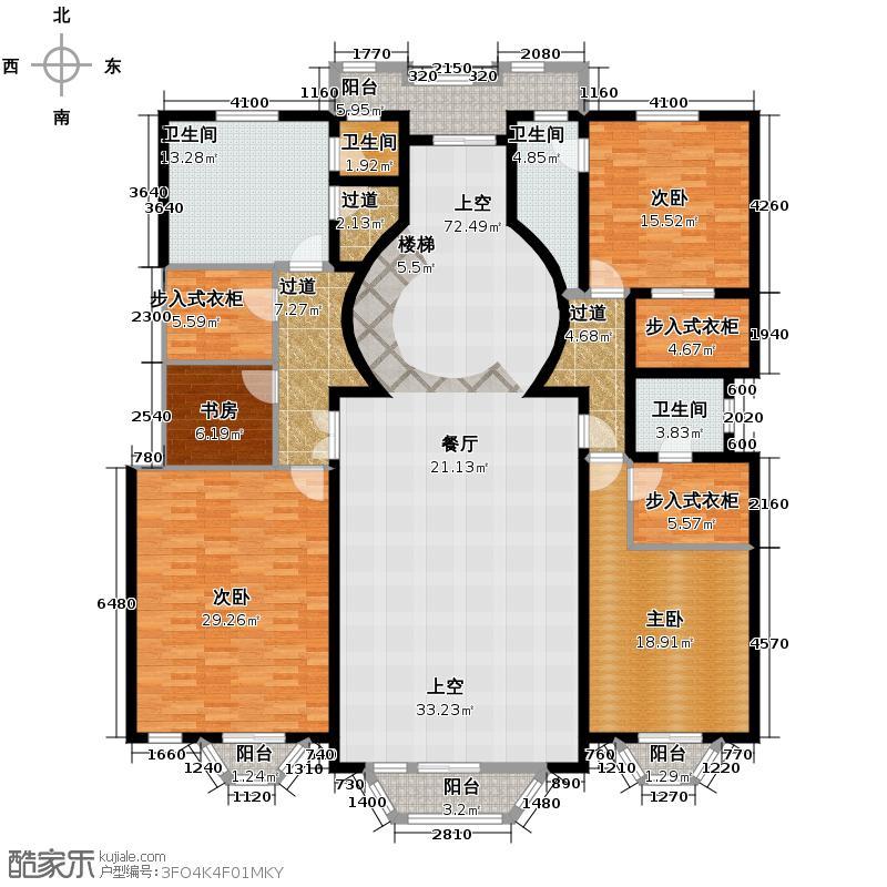 南湖壹�215.00㎡萨尔瓦多庄园二层户型4室4卫