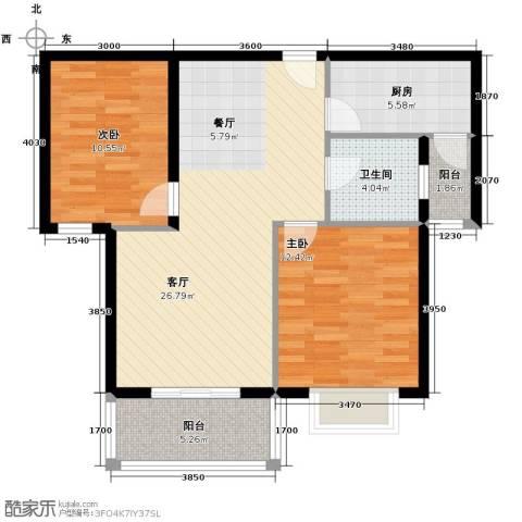 滨海国际2室2厅1卫0厨91.00㎡户型图