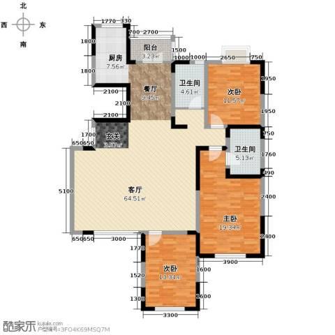 沽上江南3室2厅2卫0厨136.59㎡户型图