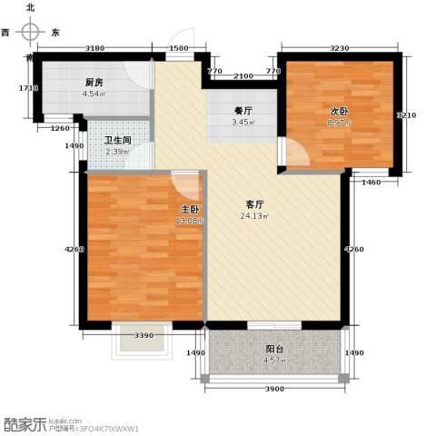 滨海国际2室2厅1卫0厨86.00㎡户型图