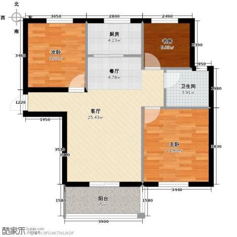 滨海国际3室2厅1卫0厨98.00㎡户型图