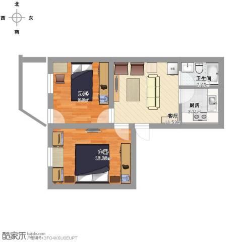 新街小区2室1厅1卫1厨60.00㎡户型图