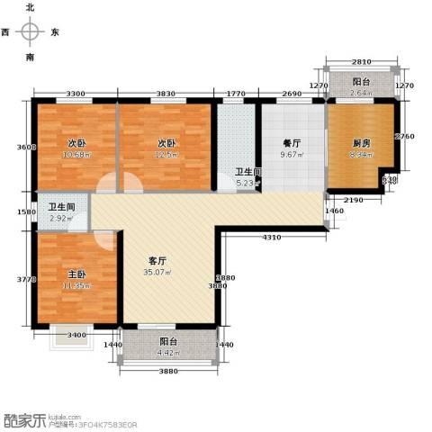 滨海国际3室2厅2卫0厨127.00㎡户型图