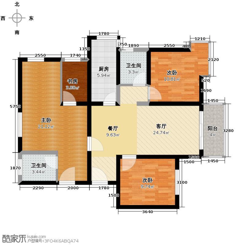 东尚蜂鸟123.08㎡户型3室2厅2卫