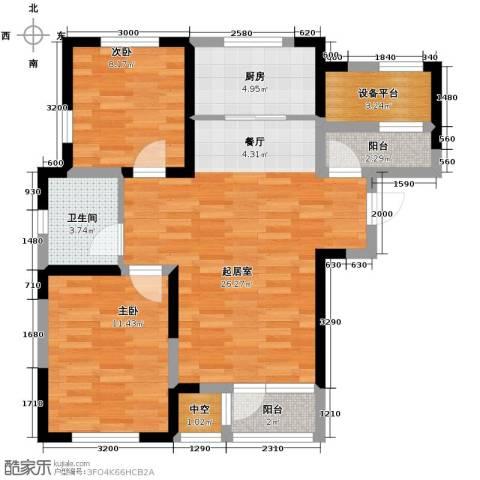 联发第五街2室0厅1卫1厨92.00㎡户型图