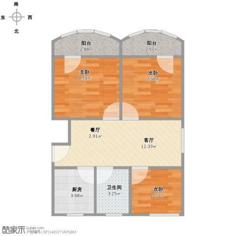 陆凌新村3室1厅1卫1厨65.00㎡户型图