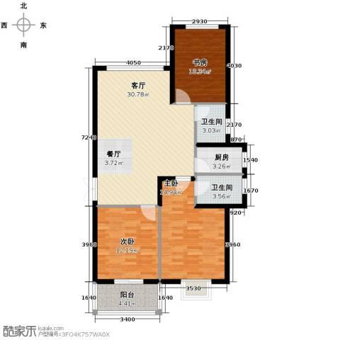 滨海国际3室2厅2卫0厨125.00㎡户型图