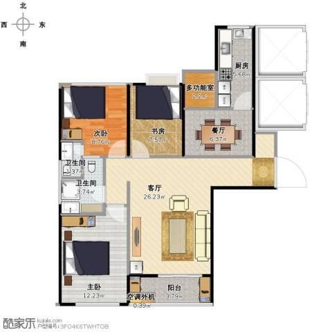 华邦国际3室2厅2卫1厨107.00㎡户型图