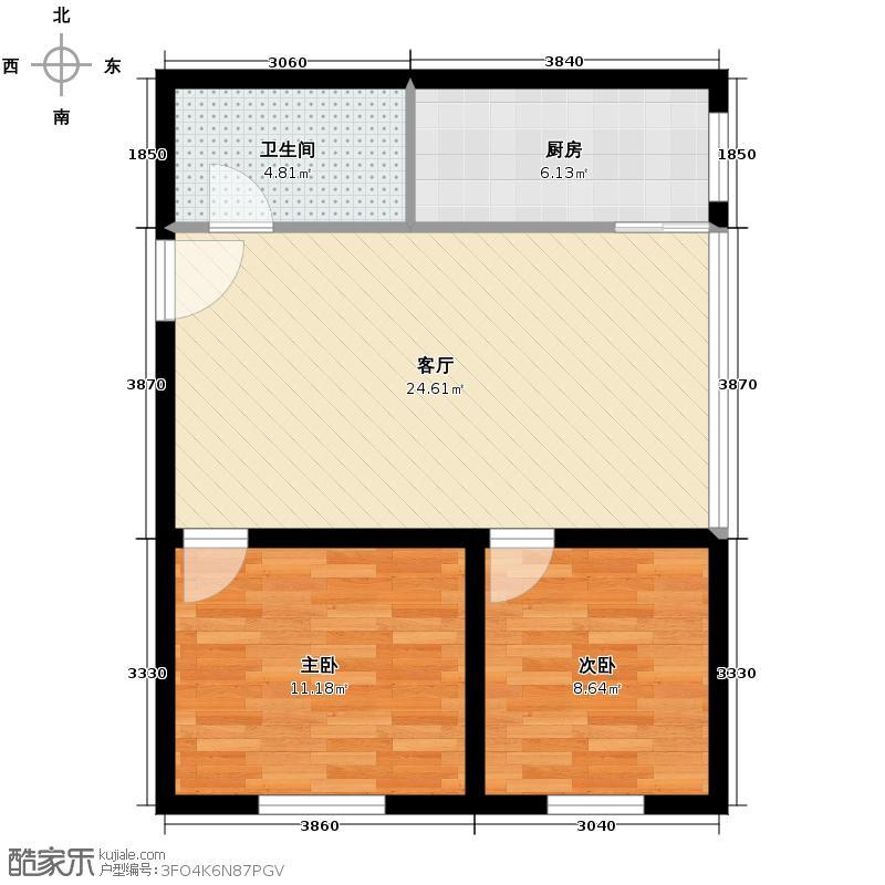 绿地海珀紫庭61.00㎡三-二十九层奇数层A4户型2室2厅1卫