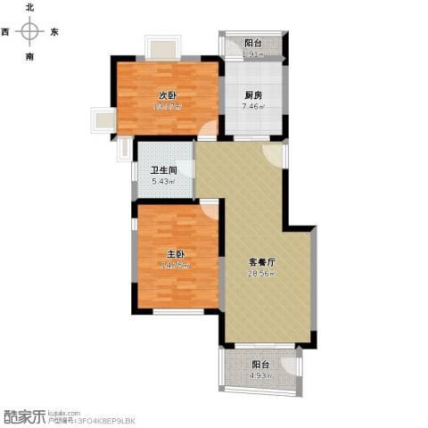 中星海上华庭2室1厅1卫1厨109.00㎡户型图