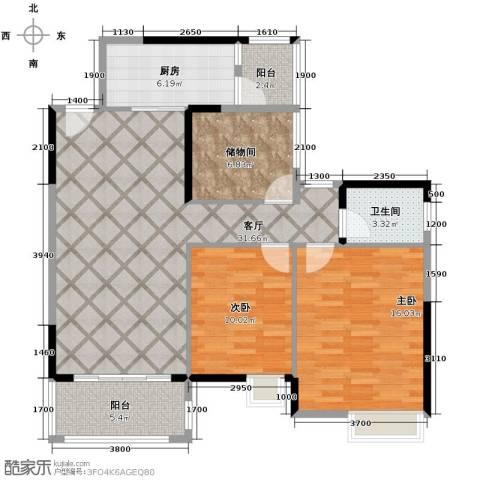 保利香槟国际2室1厅1卫1厨107.00㎡户型图