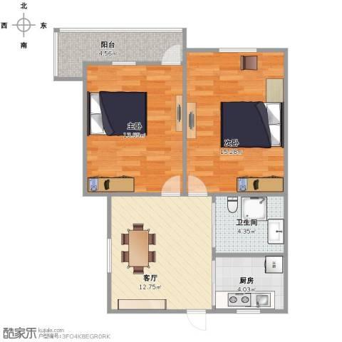 采荷芙蓉2室1厅1卫1厨74.00㎡户型图