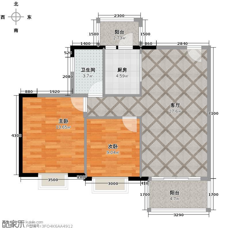 富力金港城L2/L3/L4栋02户型2室2厅1卫
