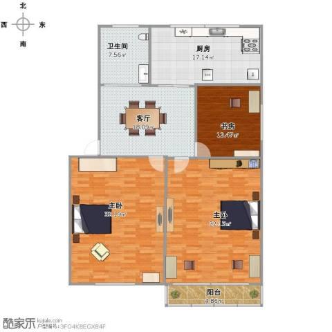 朝晖四区3室1厅1卫1厨164.00㎡户型图