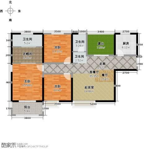长兴・园湖曲3室2厅2卫0厨135.00㎡户型图