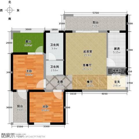 长兴・园湖曲2室2厅1卫0厨89.00㎡户型图