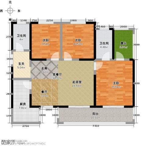 长兴・园湖曲3室2厅2卫0厨123.00㎡户型图