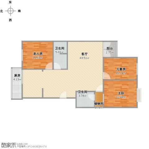 华富家园3室1厅2卫1厨128.00㎡户型图