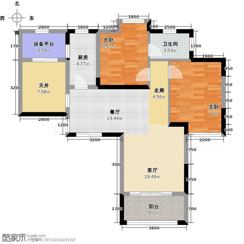 保利心语92.00㎡18号楼-F-户型2室2厅1卫