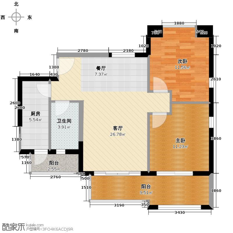 富力金港城83.00㎡F10栋3-16层08户型2室1厅1卫