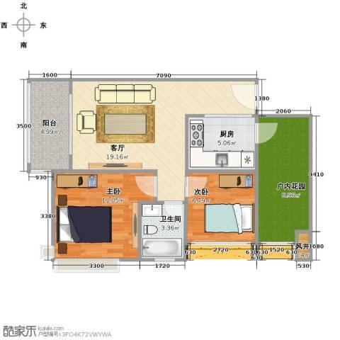 鑫月城2室2厅1卫0厨74.00㎡户型图