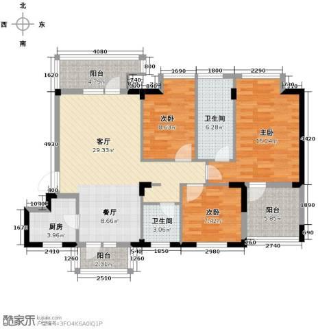 当代国际花园十五区高层3室2厅2卫0厨96.00㎡户型图