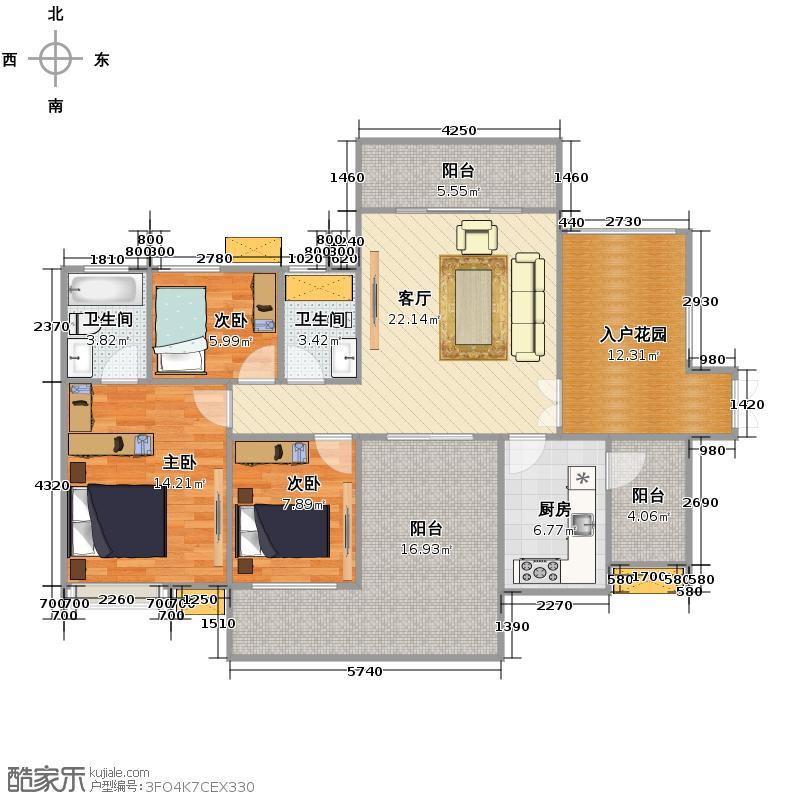 鑫月城112.02㎡B博雅魅力户型3室1厅2卫