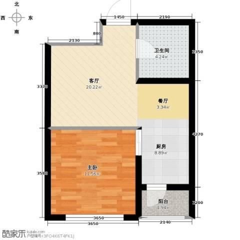 万升前城国际1室2厅1卫0厨52.00㎡户型图