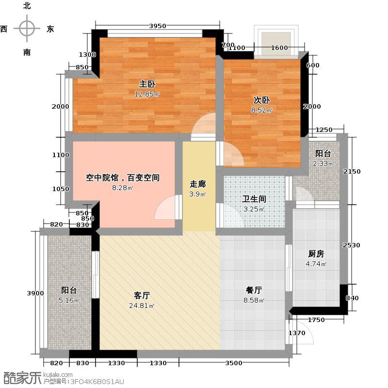巴比亚半山69.30㎡2、3号楼标准层C1、C6户户型2室2厅1卫